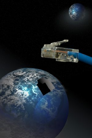 Networking cable and socket with a planet visible photo