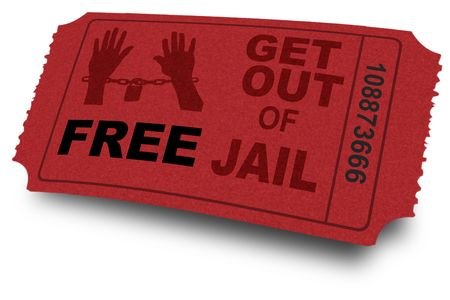 jail: Gratis get out of jail coupon of ticket Stockfoto