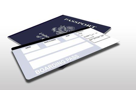 boarding card: Passaporto e biglietto aereo insieme a vuoto inf stampato sul biglietto