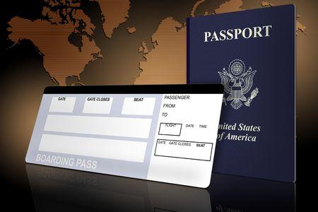 Paspoort en vlieg ticket met een wereld kaart  Stockfoto