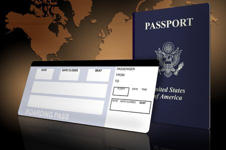 boarding card: Passaporto e biglietti aerei con la mappa del mondo