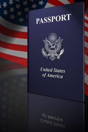 American passport with highlights and american flag Stock Photo