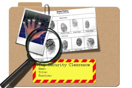 Beveiliging map waarschuwingssysteem met magnafier en vingerafdrukken