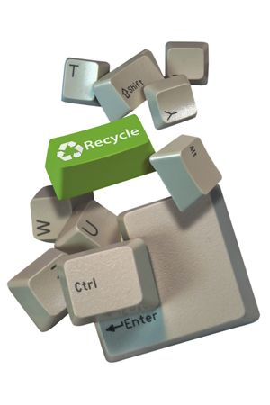 Computer keys with one GREEN key and a special word photo