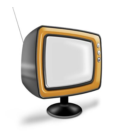 Old fashioned TV with antenna from another era photo