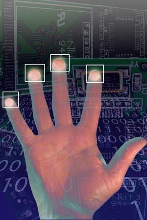 integer: Security alert pc system with palm  and finger prints