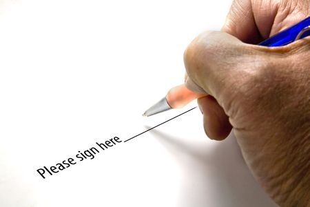 final thoughts: Pen in hand ready to sign a signature regarding a debt