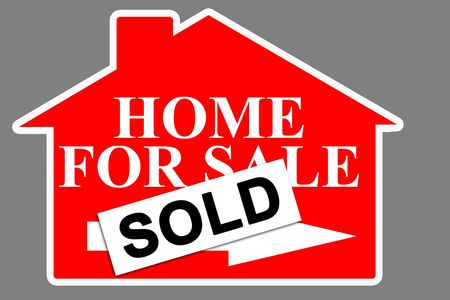 Red real estate house for sale sign with SOLD tag photo