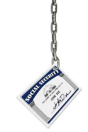 con man: A social security card depicted hanging from a chain