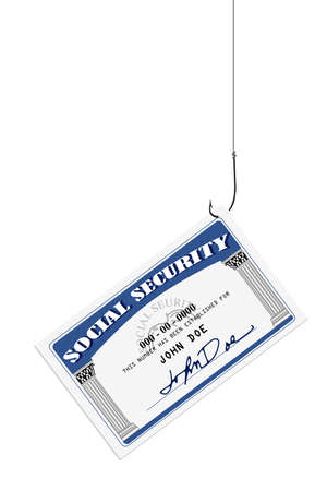 Social security card on a fishing hook and line Stock Photo