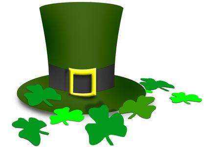 four fourleaf: Top Hat irlandese con buclkle trifoglio e foglie  Archivio Fotografico