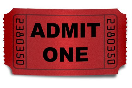Ticket stub op een witte achtergrond geïsoleerd Stockfoto