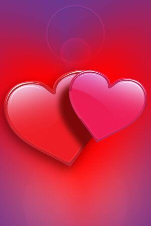 複数の色の背景を持つシニー バレンタイン ハート 写真素材 - 2836386