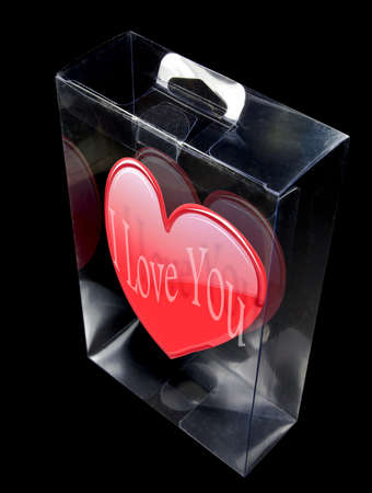 enclosed: Shinny valentine heart enclosed inside a plastic display