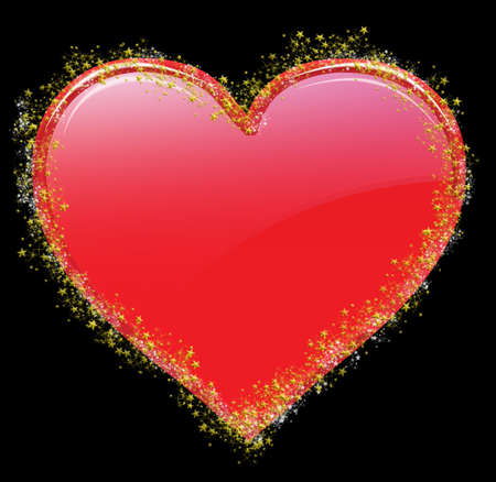 affair: Shinny valentine heart with tiny stars on white background
