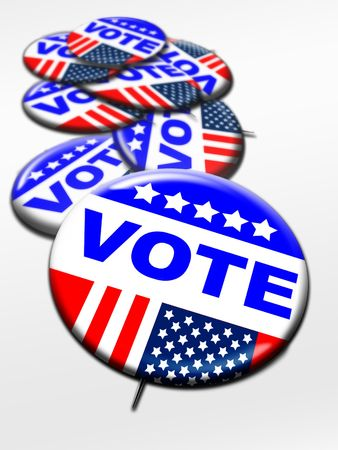 balloting: Election day vote buttons stack together on white Stock Photo