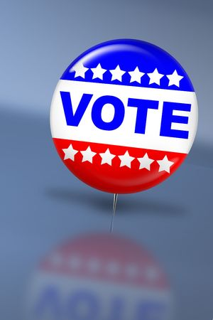 balloting: Election day vote button with reflection on a table Stock Photo