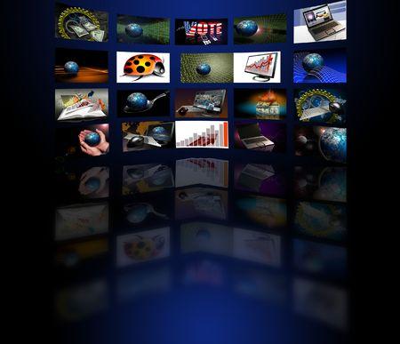 Verschillende video schermen met reflecties