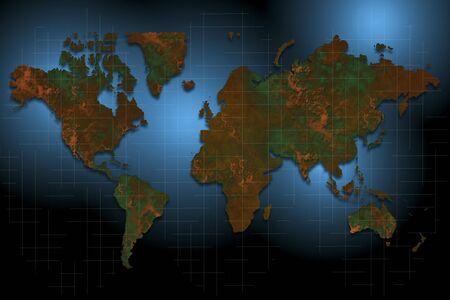 telecommunicate: World map international with mesh work and highlights