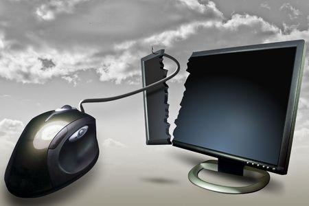 computadora monitor pantalla mouseand nublado de fondo  Foto de archivo - 2864004