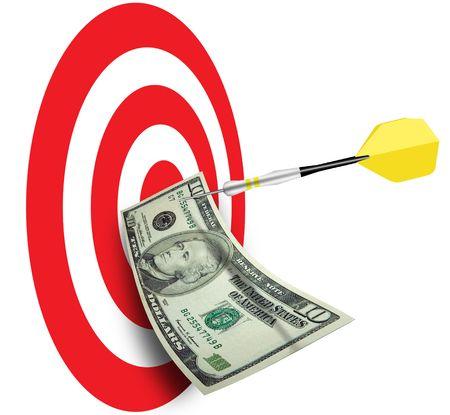Bulls eye with dart and ten dollar bill pinned photo