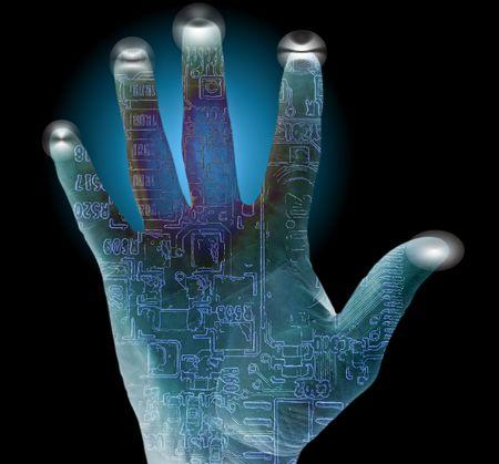 Waarschuwing pc beveiligingssysteem met palm en finger prints