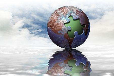 Globale aarde op de horizon water reflectie  Stockfoto