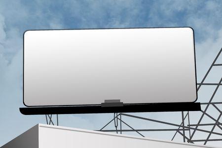 Marketing verkoop buiten teken billboard tegen blauwe hemel
