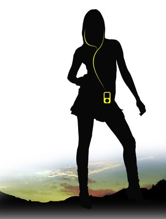 horrizon: Sexy woman wearing an MP3 player in Sunset Stock Photo