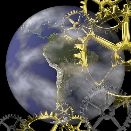 a planet with light and shadows and gears Imagens