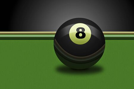 Illustration of an billards eightball on a table illustration
