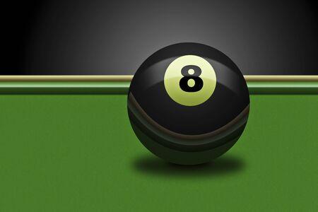 Illustration of an billards eightball on a table