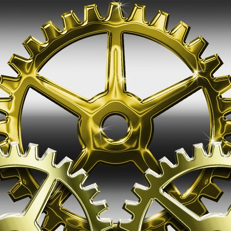Several gears placed together closely with shadoows and highlights