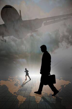 Business mannen lopen en een die op horrison met rooster en Jet