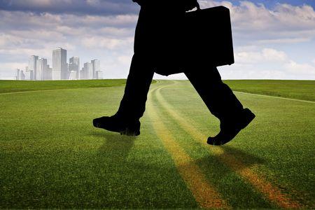 Asphalt pavement through green grass meadow