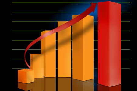 Typical sales or progress graph set on a grid with reflections photo