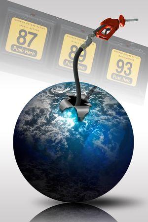 Concepto de imagen de la manguera de gas que sale de un planeta Foto de archivo - 3022715