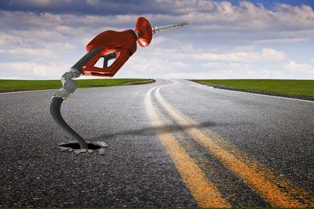 Concept afbeelding met gas mondstuk opkomende van asfalt