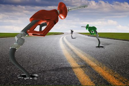 Concept imago van de gasslang door middel van asfalt Stockfoto