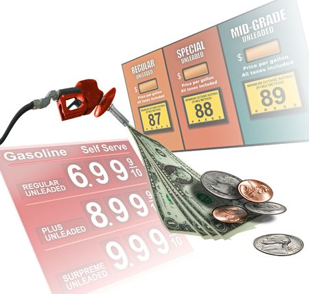 Concept images depicting high cost fuel prices 스톡 콘텐츠