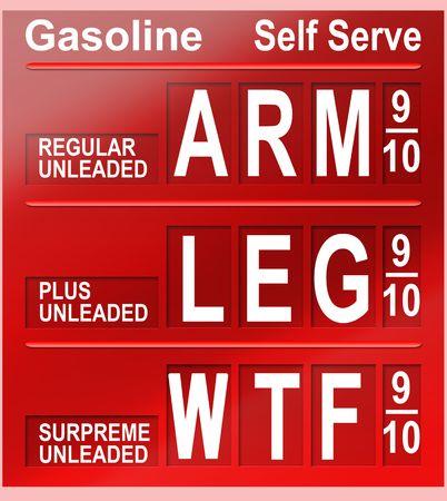높은 연료 가격을 묘사하는 컨셉 이미지