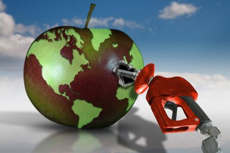 warming up: Concept image with world map on an apple filling up with fuel