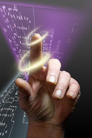 security symbol: Security alert pc system and concept finger prints Stock Photo