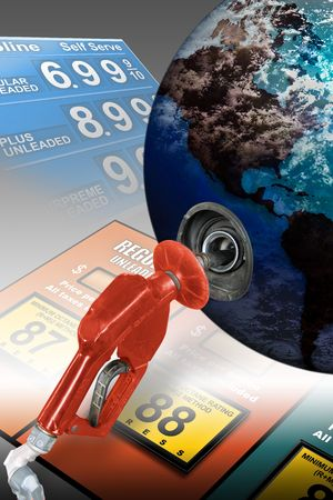 litre: Concept image with gas nozzle filling Earth Stock Photo