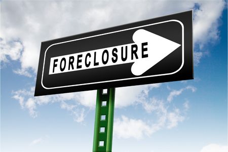 concept image that is depicting sign with foreclosure