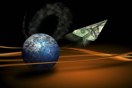 dollar bills and and Earth suspended in space Stok Fotoğraf