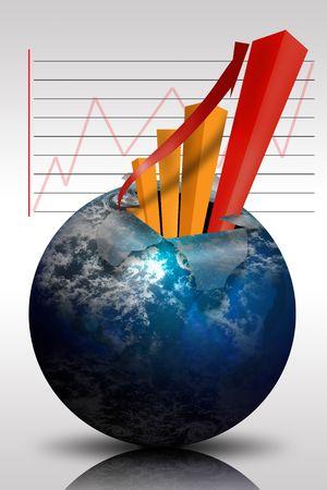 Business-staafdiagram op de monitor met pijl-indicator Stockfoto