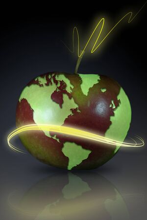 Concept image with world map on an apple Stock Photo - 3085630