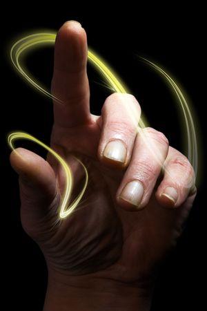 concepti mage met hand wijst een vinger in de lucht