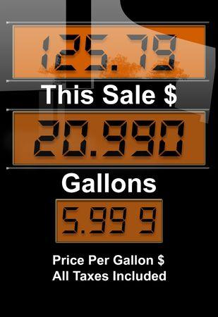 octane: Concept image with gas nozzle digital sales amounts